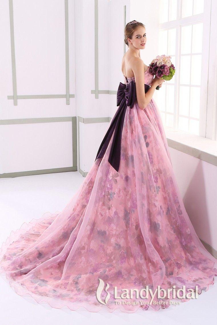 カラードレス エンパイア 取り外し式リボン ビスチェ 濃いピンク プリントオーガンジー JUL015004 価格 ¥61,452