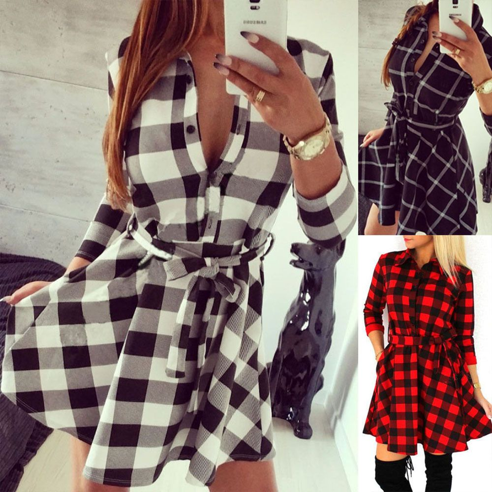 Details zu Frauen Thin-Mantel-lange Hülsen-Plaid-Kleid-Minikleid ...