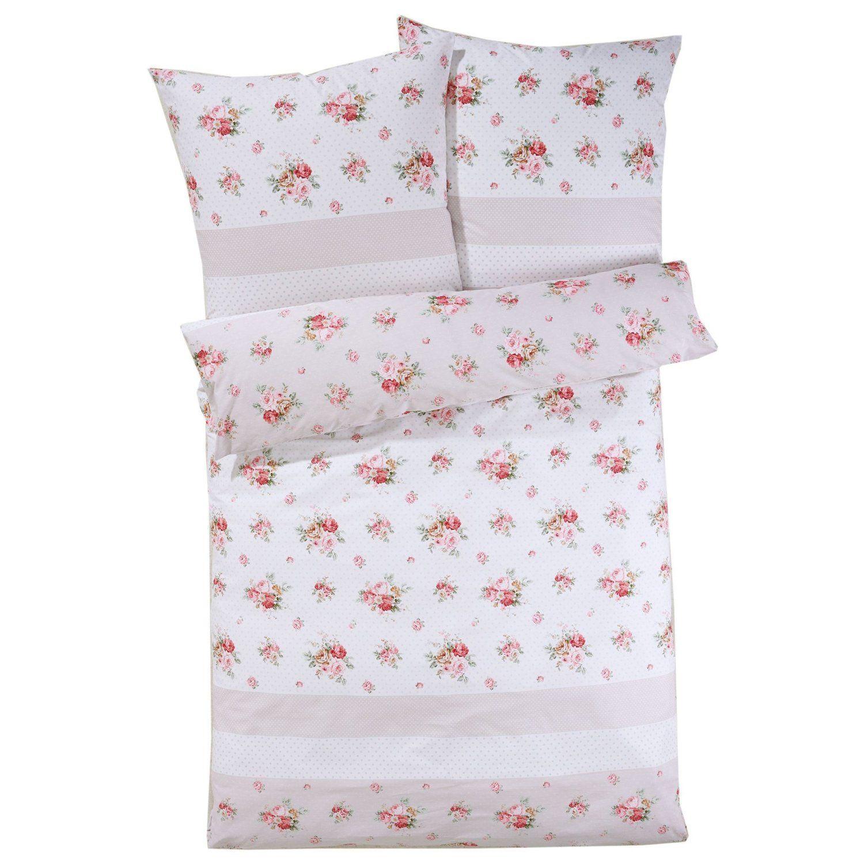 Bettwäsche Rosen mit Reißverschluss 100% Baumwoll-Satin Rosa 135 x ...