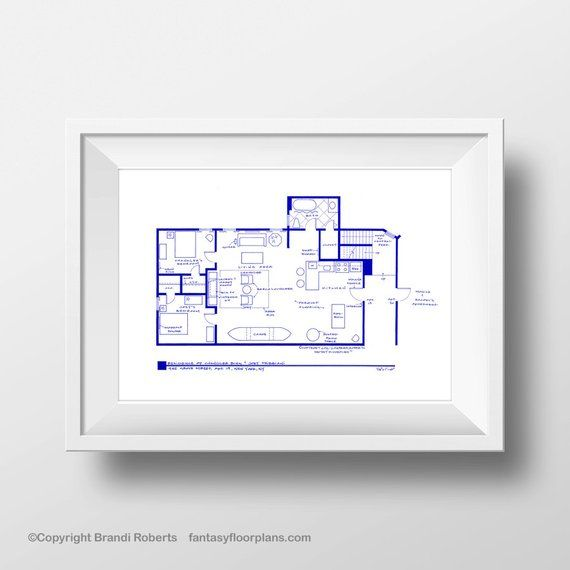 How I Met Your Mother Barney Stinson Apartment Floor Plan Expertly Hand Drawn BluePrint Poster Unique Wall Decor Great gift!