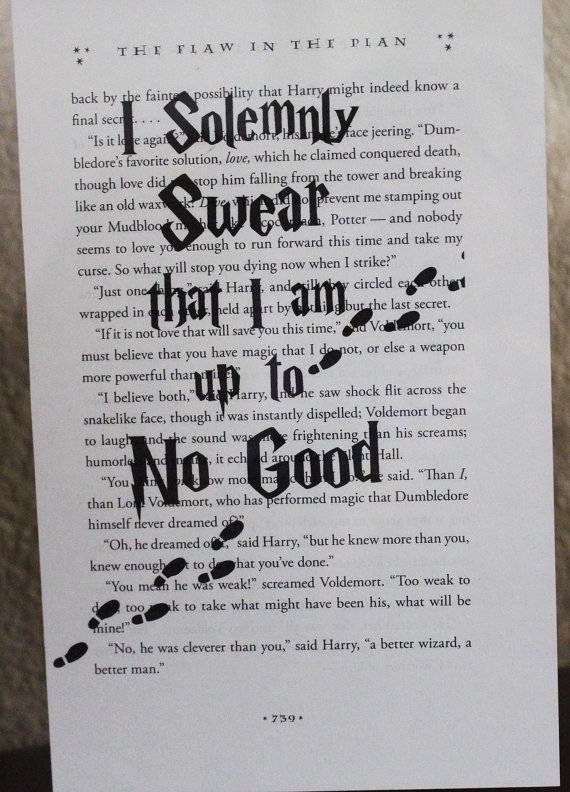 Harry Potter I Solemnly Swear Book Quote Marauder Map Wall