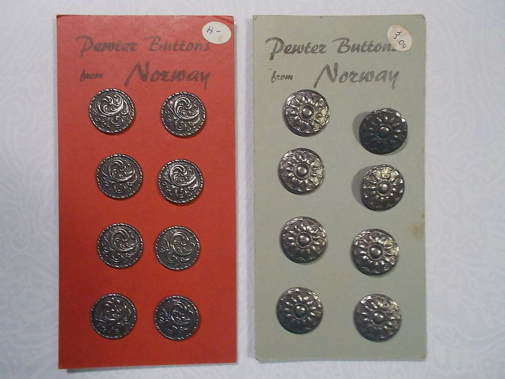 Pewter Buttons From Norway Two Carded Sets Of Eight