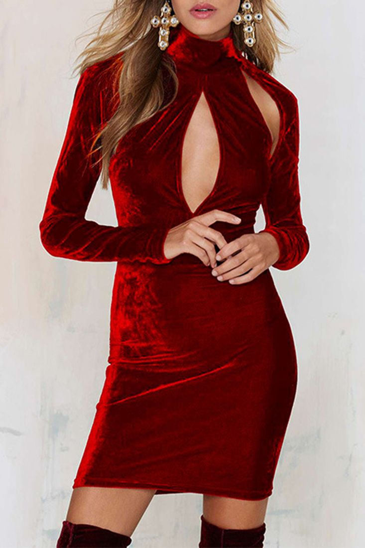 Vintage burgundy velvet cutout front bodycon dress red