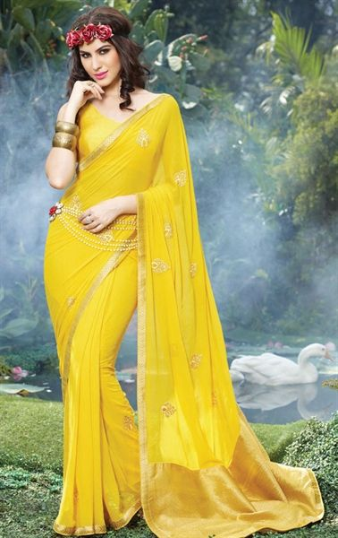 Fashion Yellow Color Georgette Saree