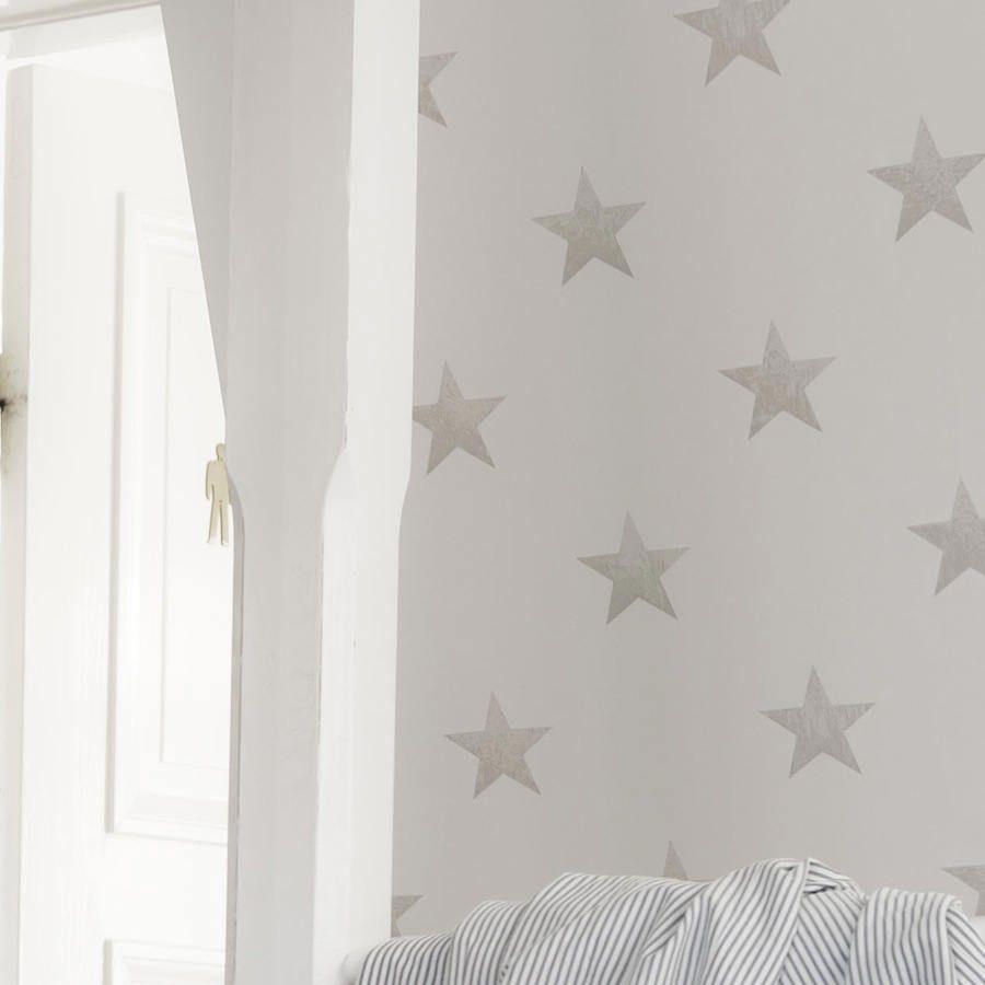 papel pintado estrellas vintage de color piedra telas