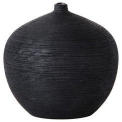 Threshold™ Striated Ceramic Ball Vase - Black 6.7