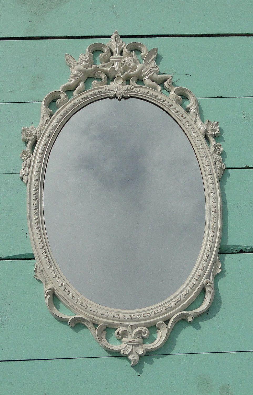 Wow Large Ornate Oval Framed Mirror Hollywood Regency Vintage Nursery French Country Distressed Heirloom Whi Large Framed Mirrors Mirror Frames Vintage Nursery