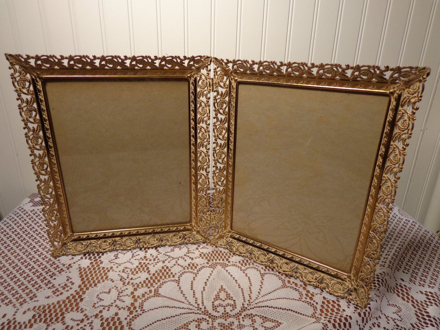 Vintage Gold Hinged Whitewash Picture Frame Double Bi Fold Frame 8