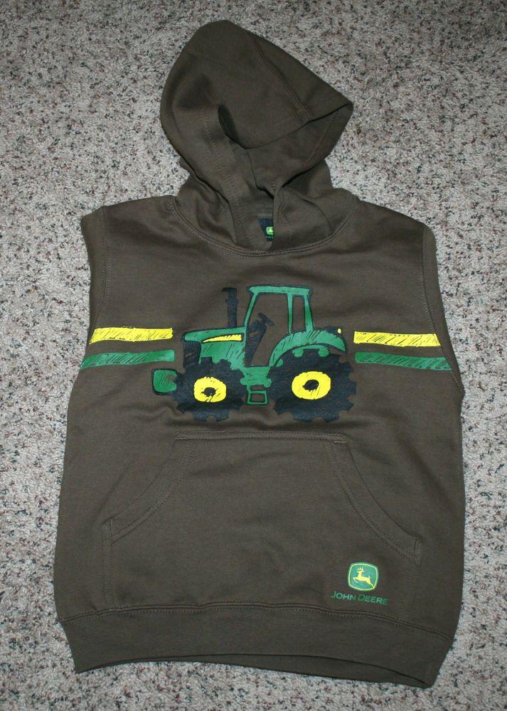 NWT John Deere Boys size 7 brown hoodie hooded sweatshirt Big Tractor #JohnDeere