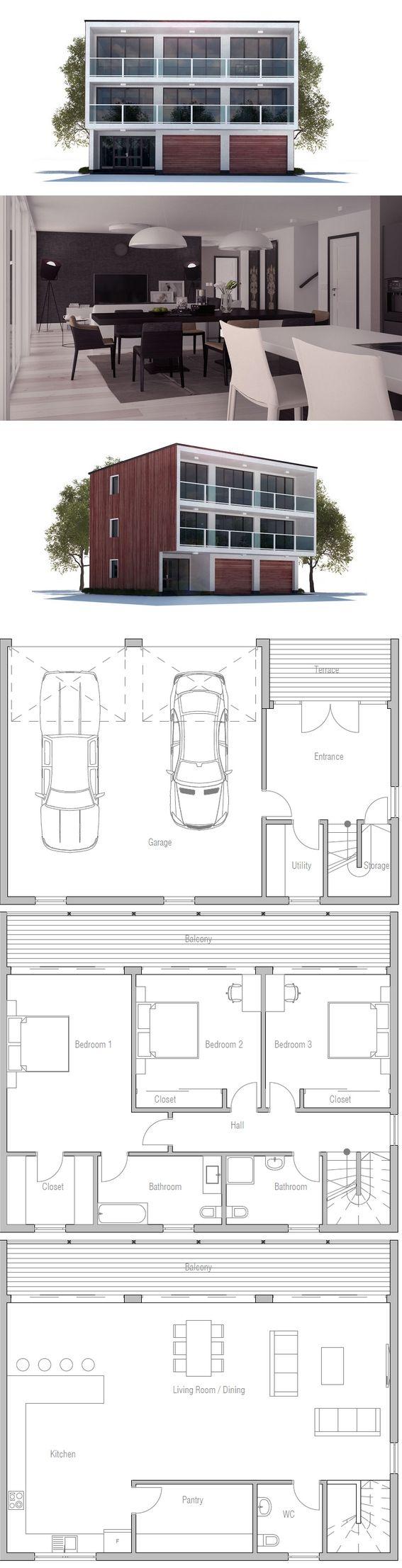 Modern house plan to sloping lot