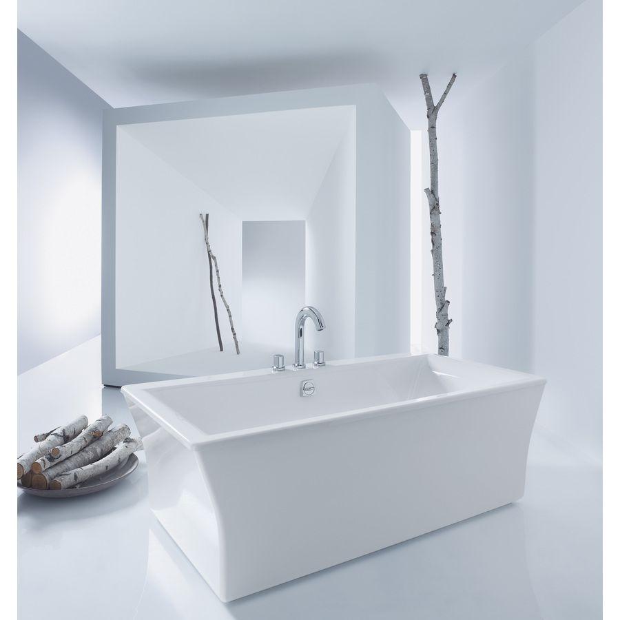 Kohler Stargaze White Acrylic Rectangular Freestanding Bathtub With Center Drain (Common: 36-In