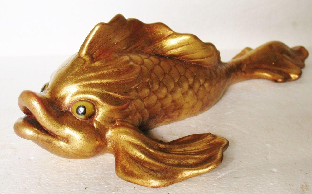 FREEMAN MCFARLIN Art POTTERY CALIFORNIA ANTHONY 348 USA Gold Gilt Koi Fish