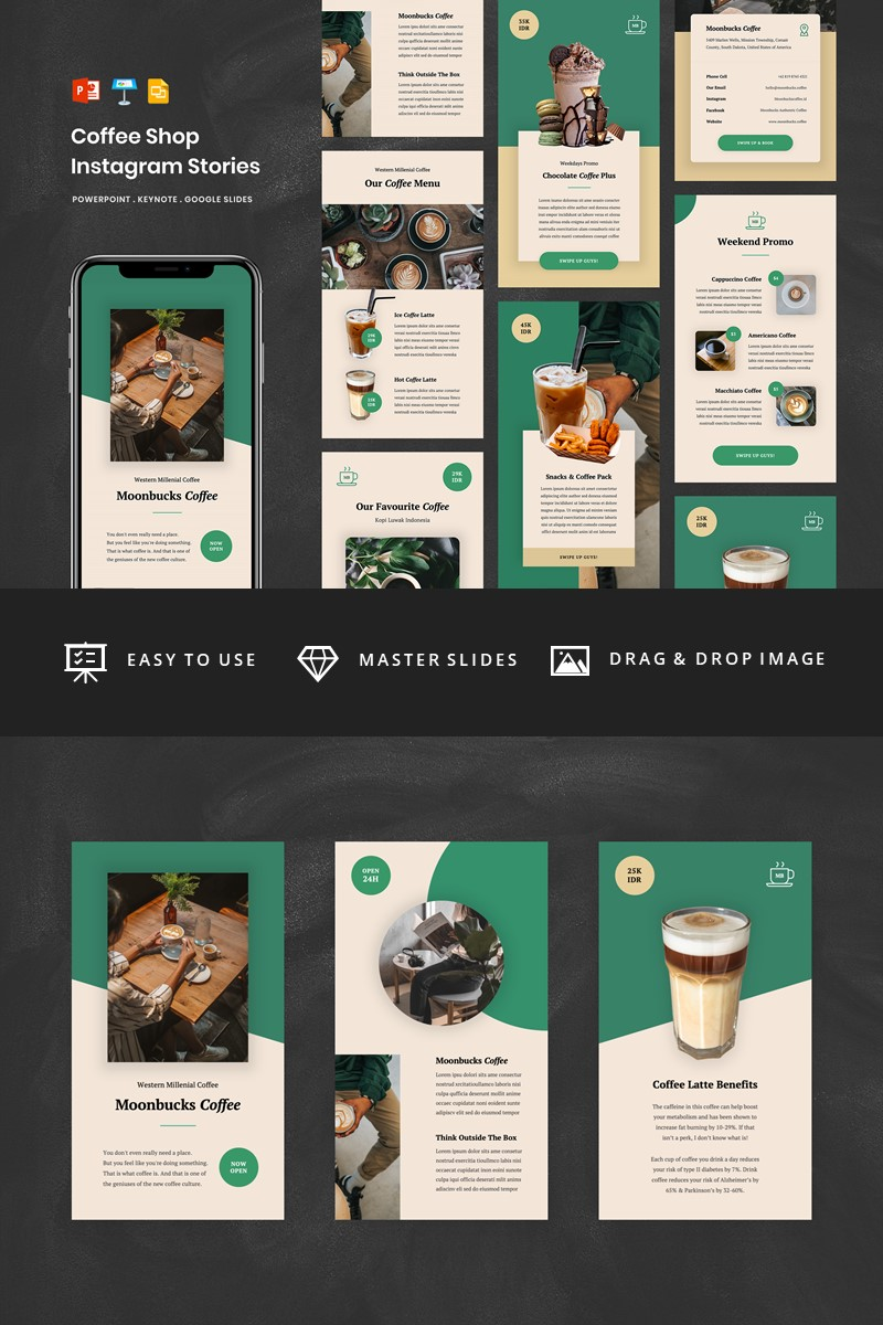 Coffee Shop Social Media Instagram Stories Powerpoint Template Desain Media Sosial Instagram Desain Editorial