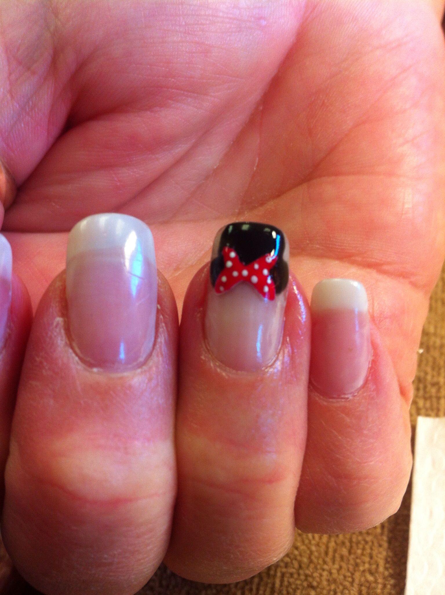 Fiberglass nails with minnie nail art by krystal amore
