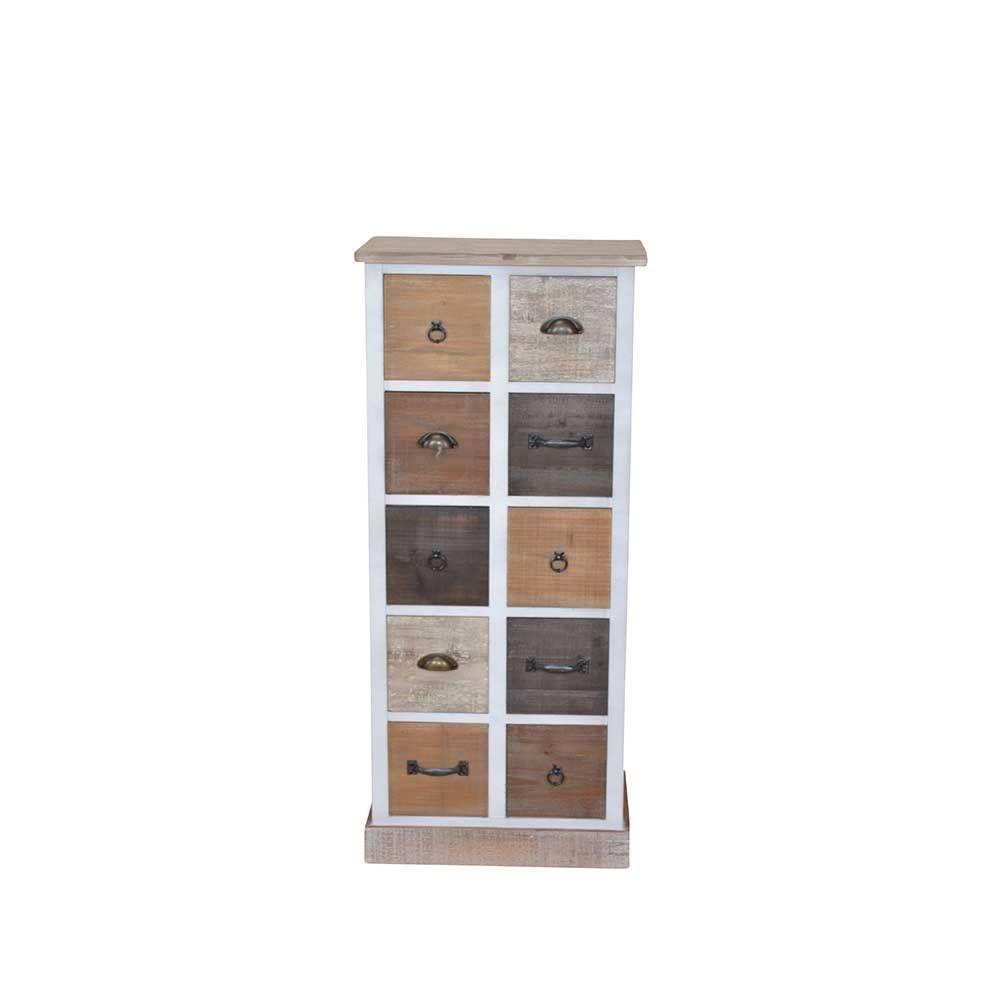 Blickfang Schubladenkommode Sammlung Von 10 Schubladen Kommode In Weiß Braun Tanne