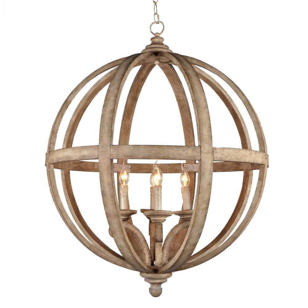 Y Decor Hercules 4Light Brown Wood Globe Chandelier – Brown Chandelier