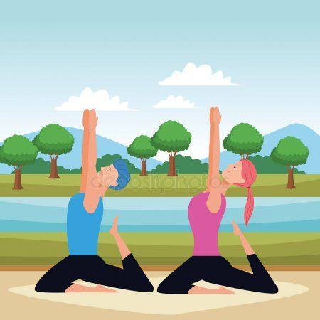 couple yoga poses  stock vector  spon yoga couple