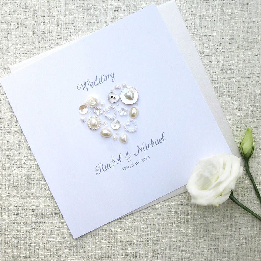 Pearl Heart Personalised Wedding Invitations