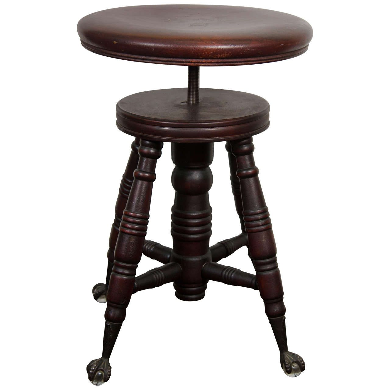 Captivating Antique Mahogany Turned Wood Adjustable Piano Stool