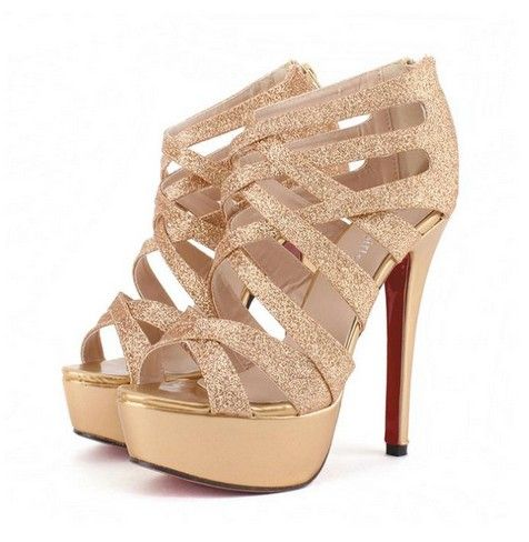 Sexy Metallic Gold Strappy High Hee | Sexy, Metallic gold and Pump