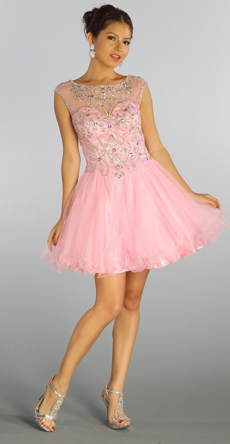 Coral Sleeveless Beaded Short Mesh Prom Dress Discountdressup Com Homecoming Dresses Dresses Cheap Dresses [ 1539 x 800 Pixel ]