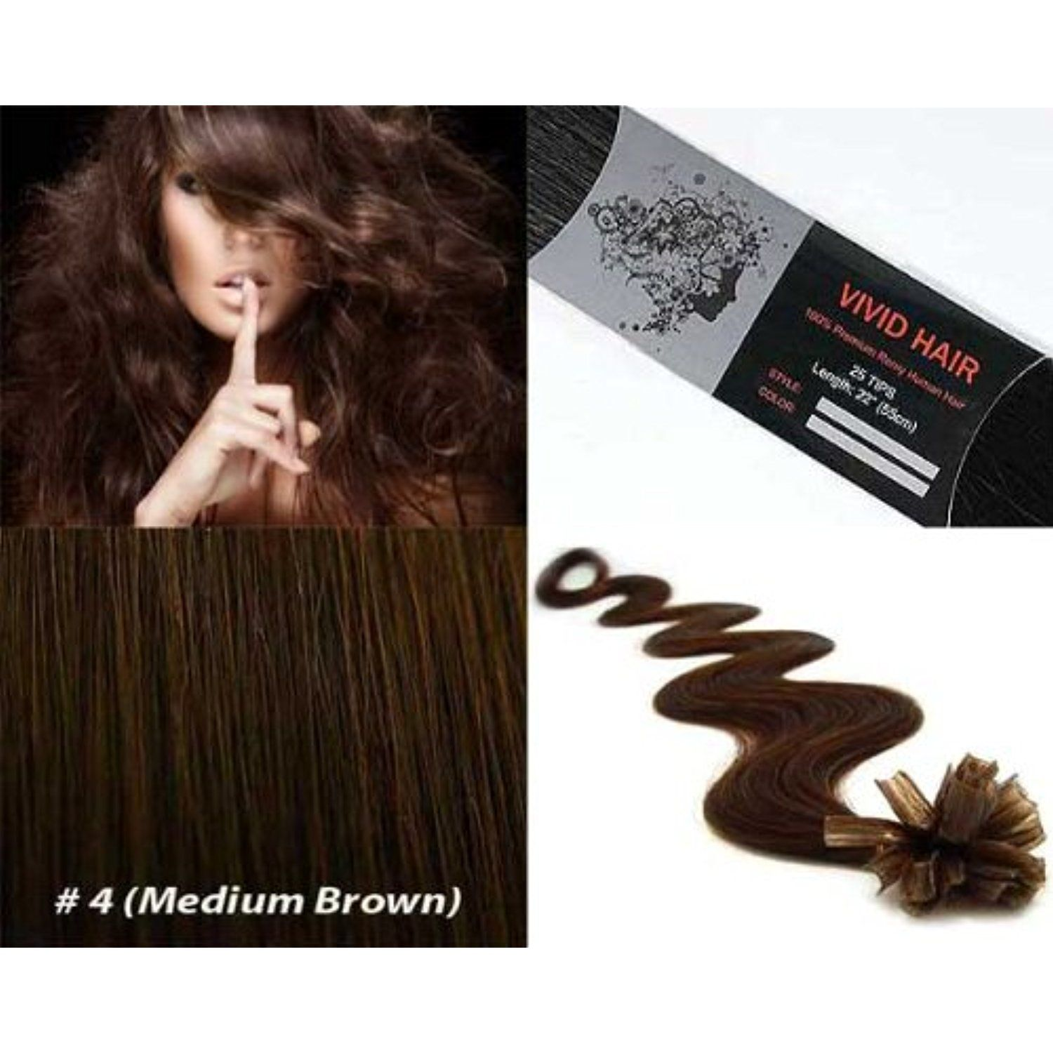 Vivid Hair 25 Strands Wavy Body Wave Pre Bonded U Nail Tipped Fusion