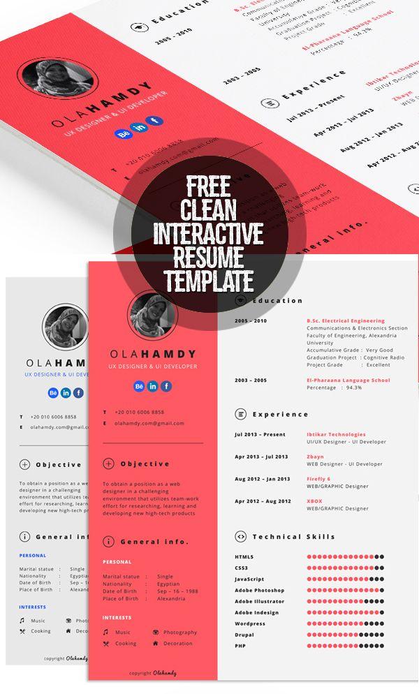 Free Clean Interactive Resume Template Resumetemplate
