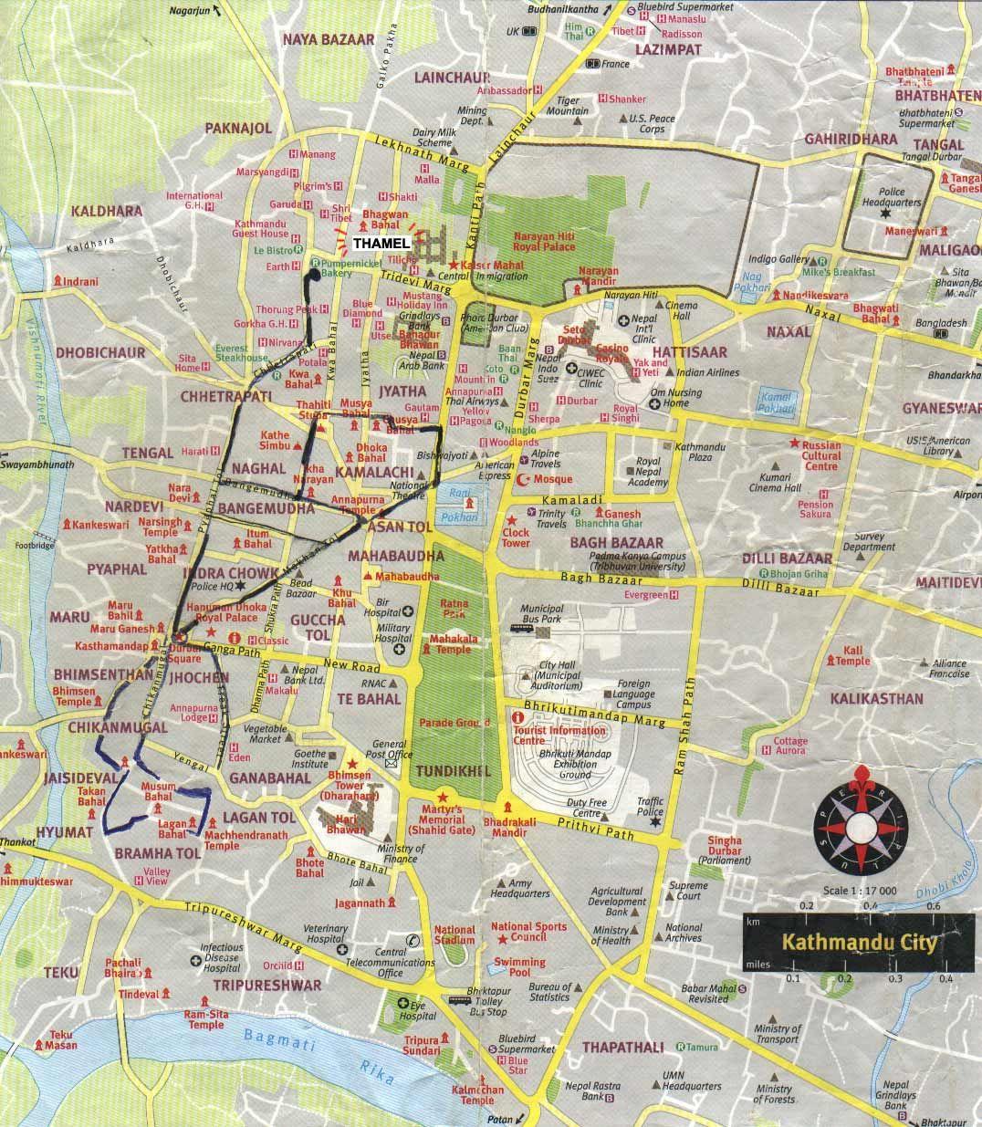 Kathmap02 Large Nepal Pinterest Tourist Map Nepal