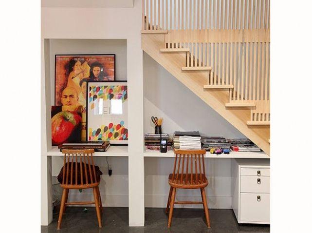 Bureau sous escalier sous l 39 escalier pinterest for Bureau sous escalier