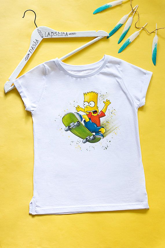 cd9da607 Hand painted The Simpsons T-shirt, Bart Simpson T-shirt, women white tshirt.  SIZE S is ready to ship