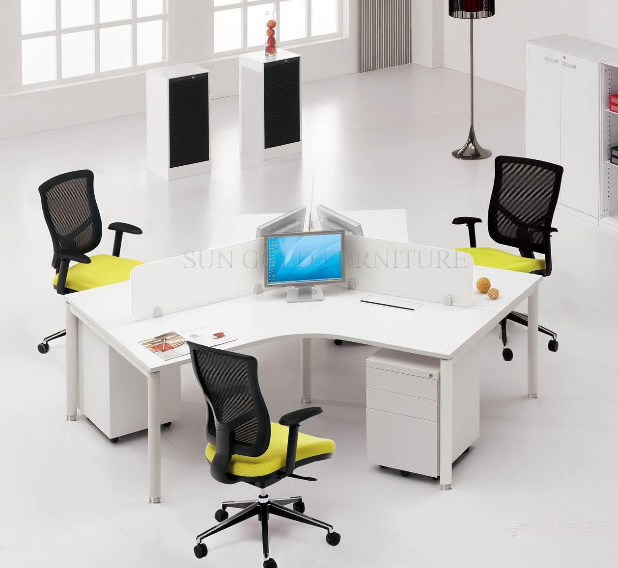 3 Person 120 Degree Cluster Workstation Delivery Install To