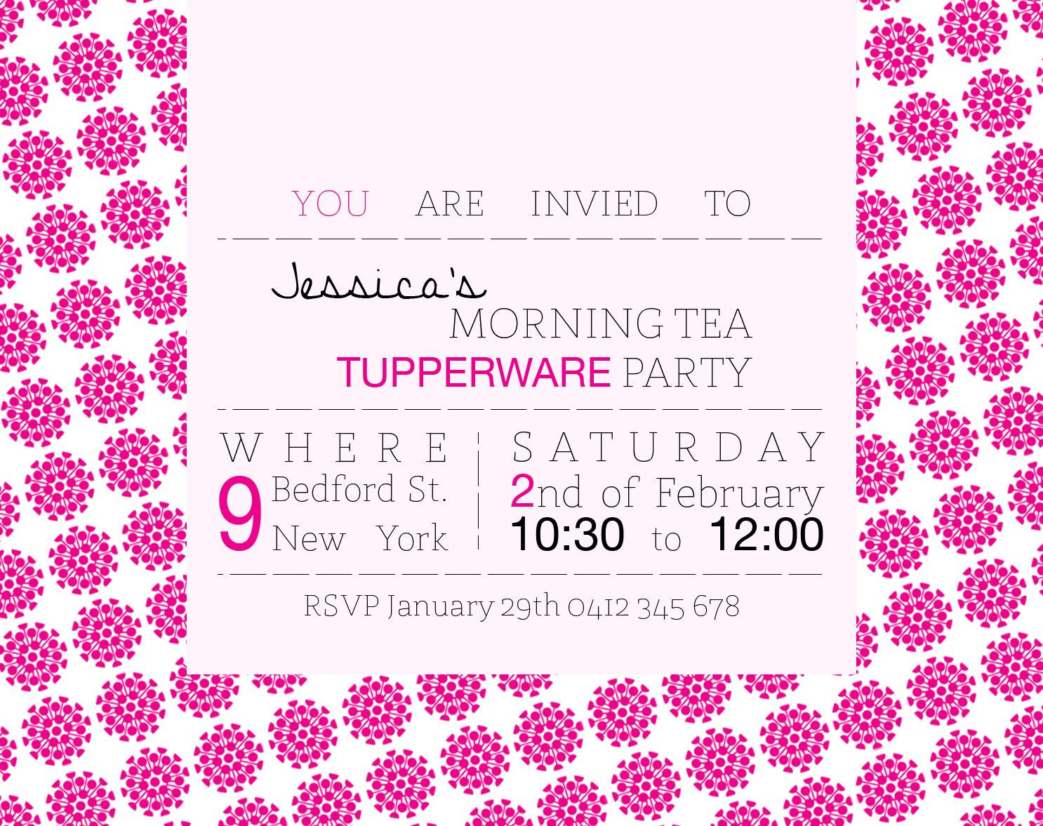 Tupperware Party Invitation. Fonts Used- St Marie, Helvetica Neue ...