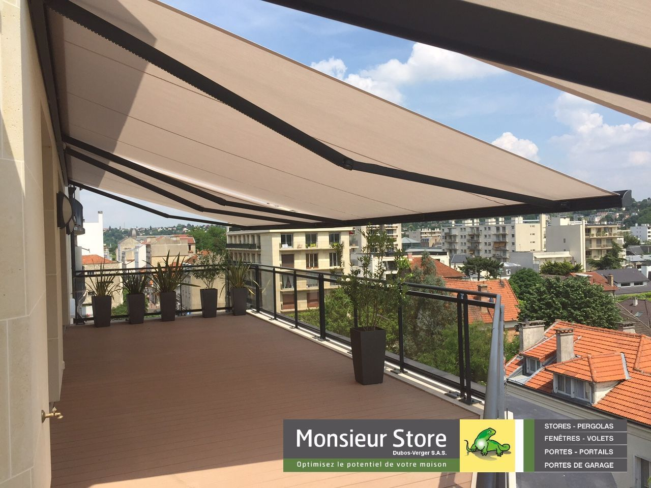 Store Banne ULTIMO Coffre électrique LED Gris Anthracite Terrasse  Appartement Rooftop