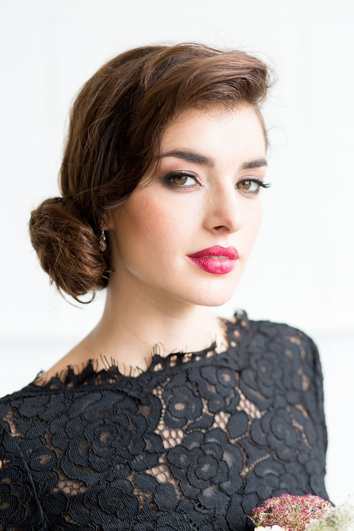 Red lipstick and black lace dress Vintage wedding hair