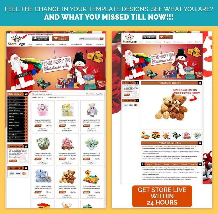Ready-to-Sell EBAY STORE TEMPLATE in #CHRISTMAS #SANTACLAUS theme ...