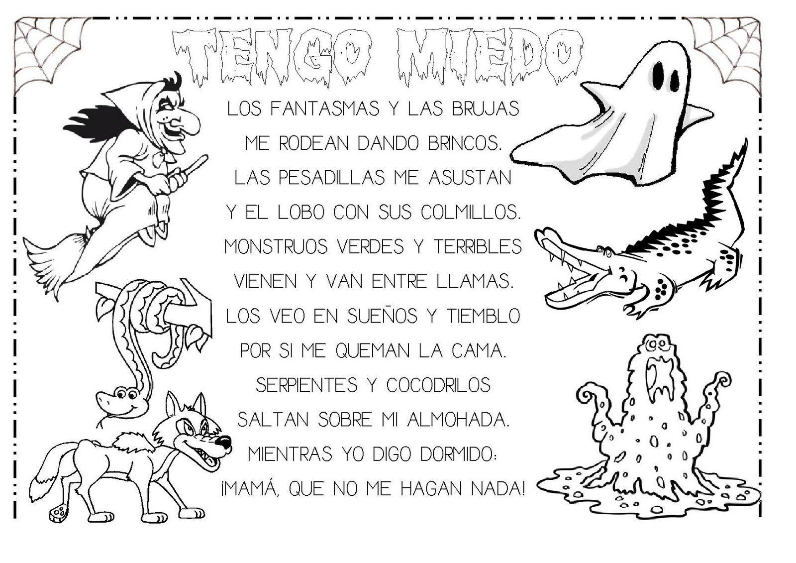 Dibujos Para Colorear De Terror Ninos: Recursos Infantiles: Proyecto El Miedo