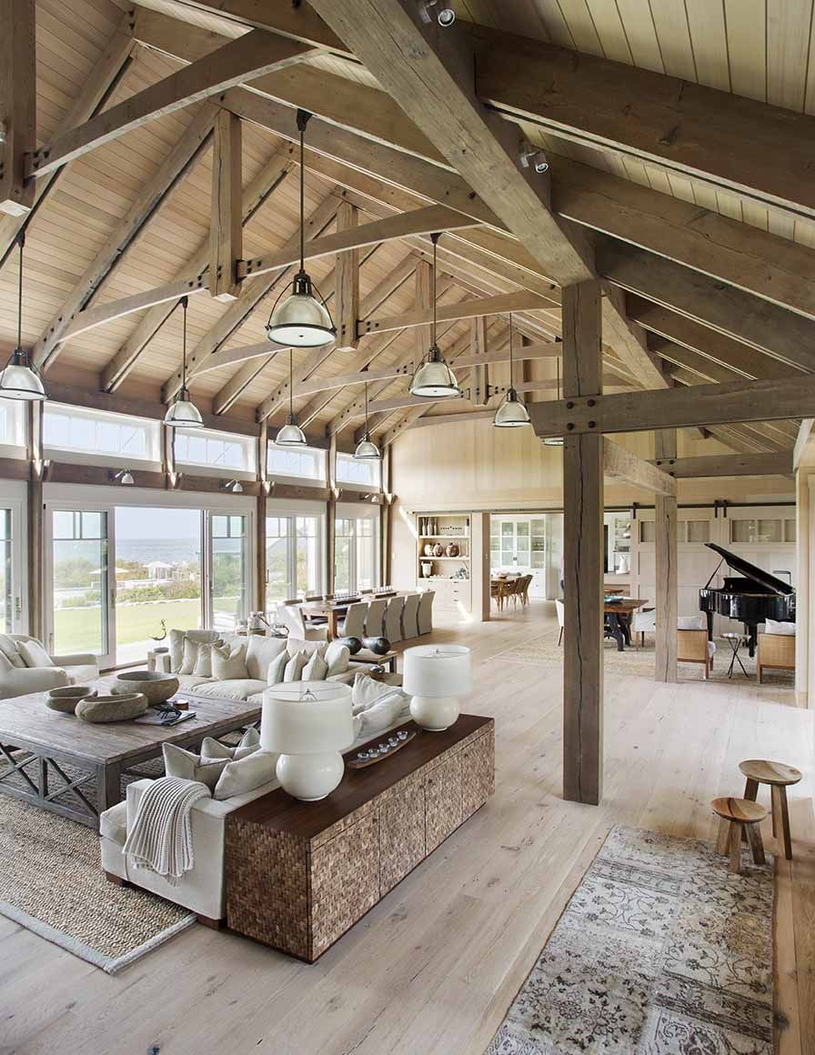 Gorgeous beach house in Massachusetts with barn-like details
