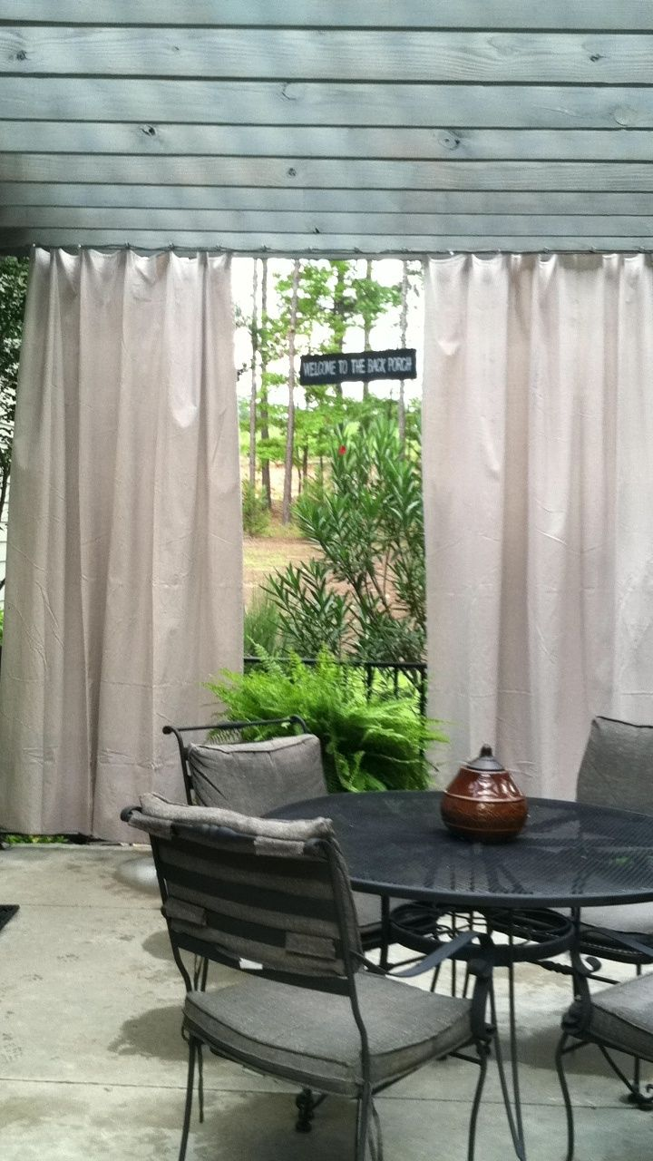 Outdoor Curtains From Painters Canvas Drop Cloth. Also Like The Slight Blue  Tint To The