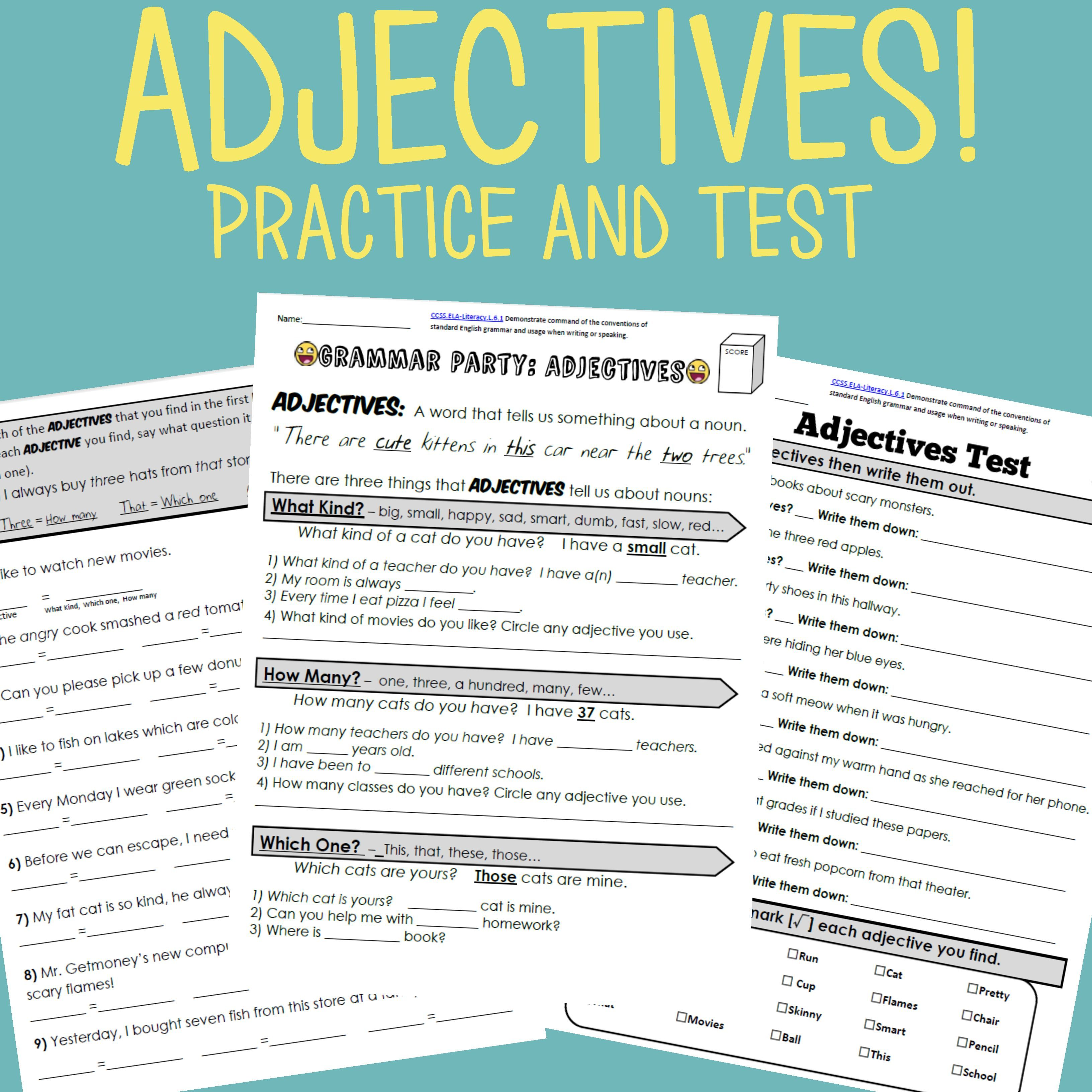 Adjectives Grammar Worksheet Packet Test In