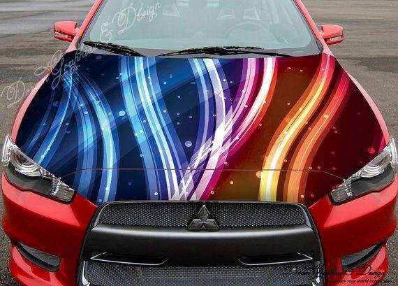 Abstract Line Full Color Graphics Adhesive Vinyl Sticker Fit Any - Custom vinyl car hood decalsskull full color graphics adhesive vinyl sticker fit any car hood