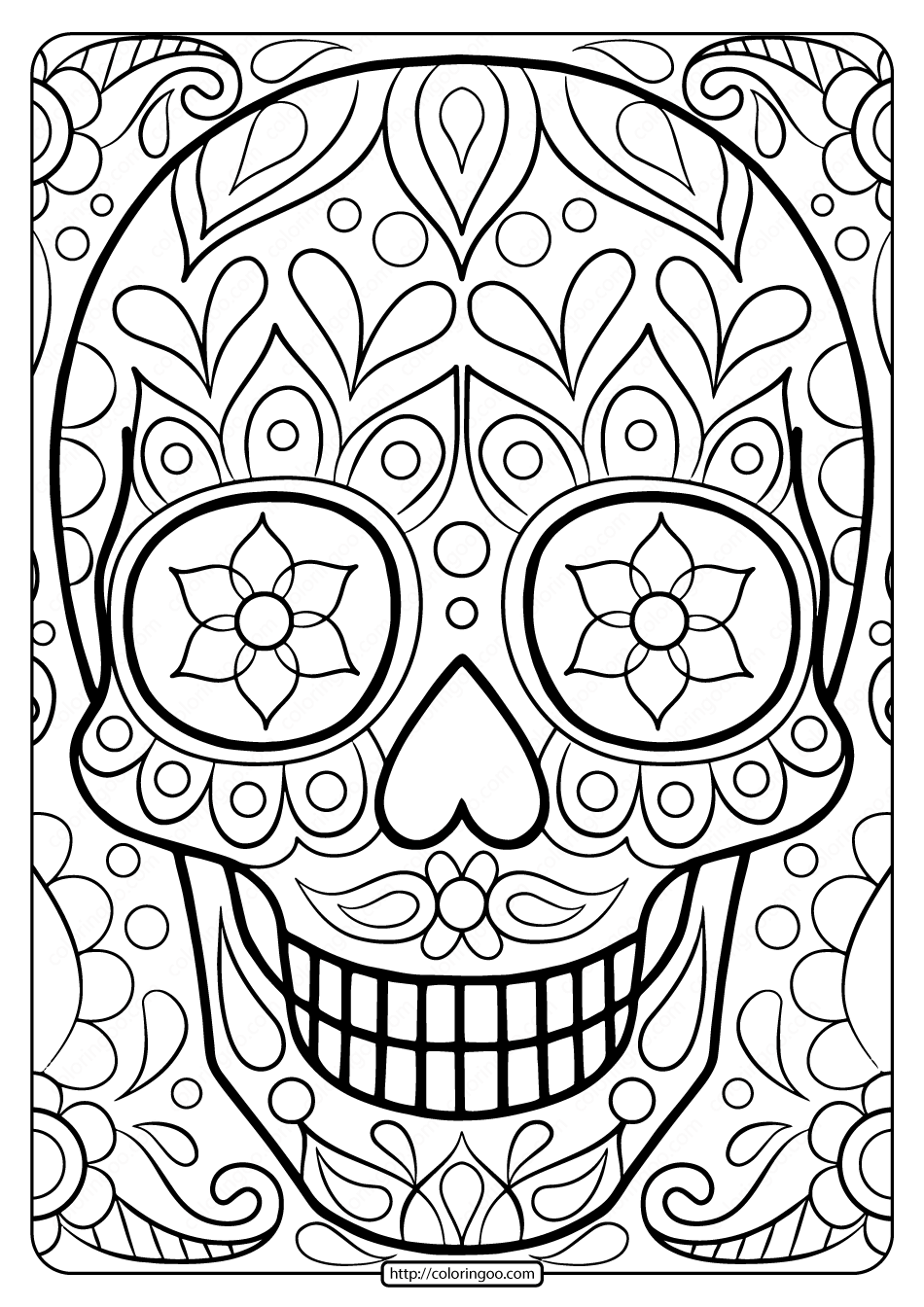 26+ Day of the dead mask coloring page HD