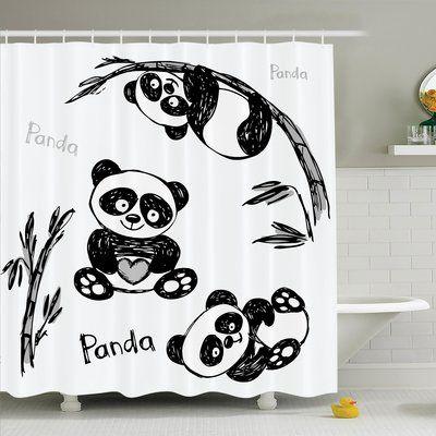 Zoomie Kids Lizbeth Panda Poses Shower Curtain Set Shower