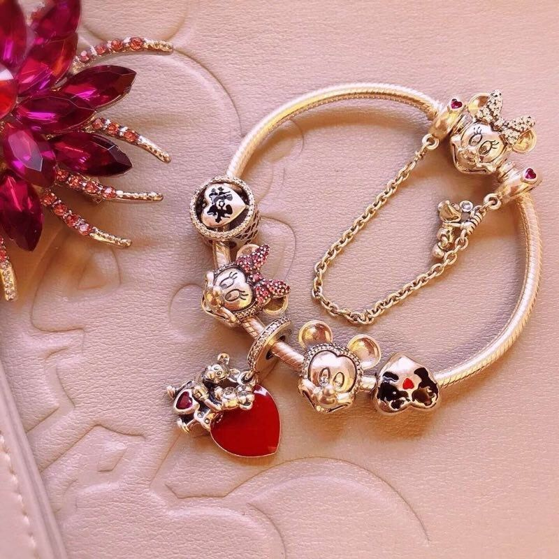 New Pink Encased in Love Charms925 Sterling Silver fully stampedBeads,Charms