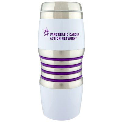 Travel with your hot beverage in our 16 oz. BPA-free white Acrylic and 18/8 Stainless Steel exterior, 18/8 stainless steel interior, Signature Sovrano® slide-open lid, purple silicone rings and a non-slip base pad. Comes with our logo on one side, and our URL and toll-free number on the other. You will help raise awareness and save the environment by decreasing the number of disposable paper cups filling up our landfills.
