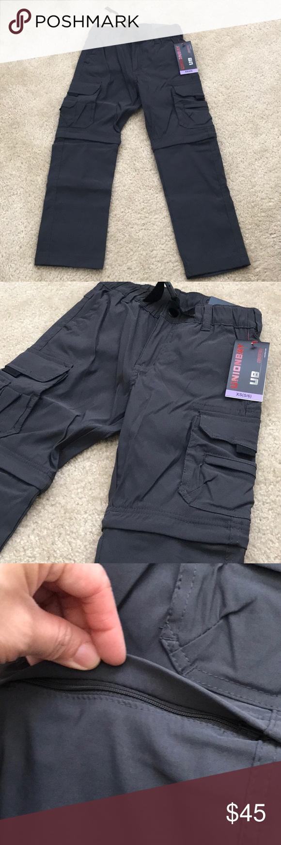 6 NEW! UNIONBAY Boys Convertible Pants into Shorts Charcoal Grey Size XSmall 5
