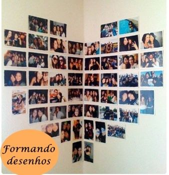 Awesome Display Of Photos In Heart Shape On The Wall Of The Inside Of Corner Where Two Walls Meet Wall Collage Decor Dorm Room Doors Wall Collage