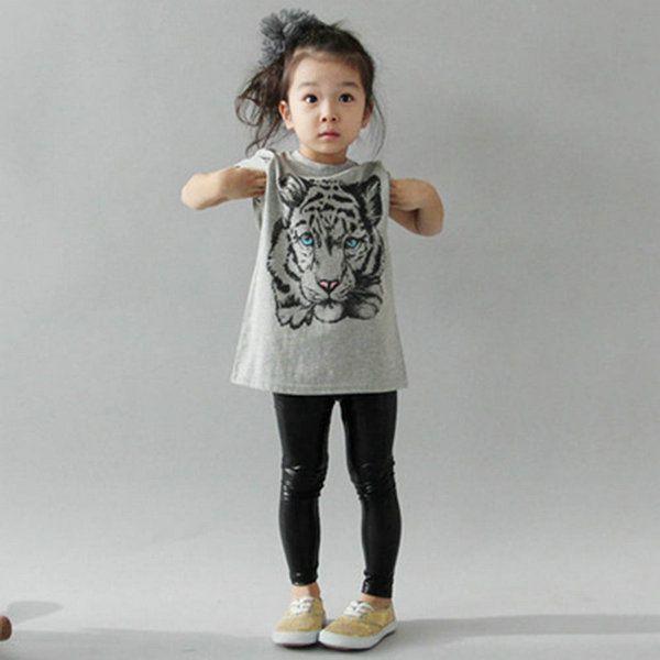 Girls Ex Zara Long T-Shirt Top Tiger Print Grey Age 2 to 14 Years Kids C02.8