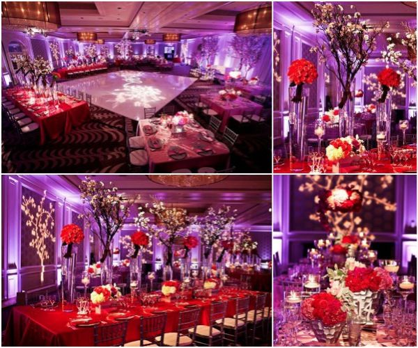Gorgeous Roses Centerpieces At This Purple Uplighting Wedding