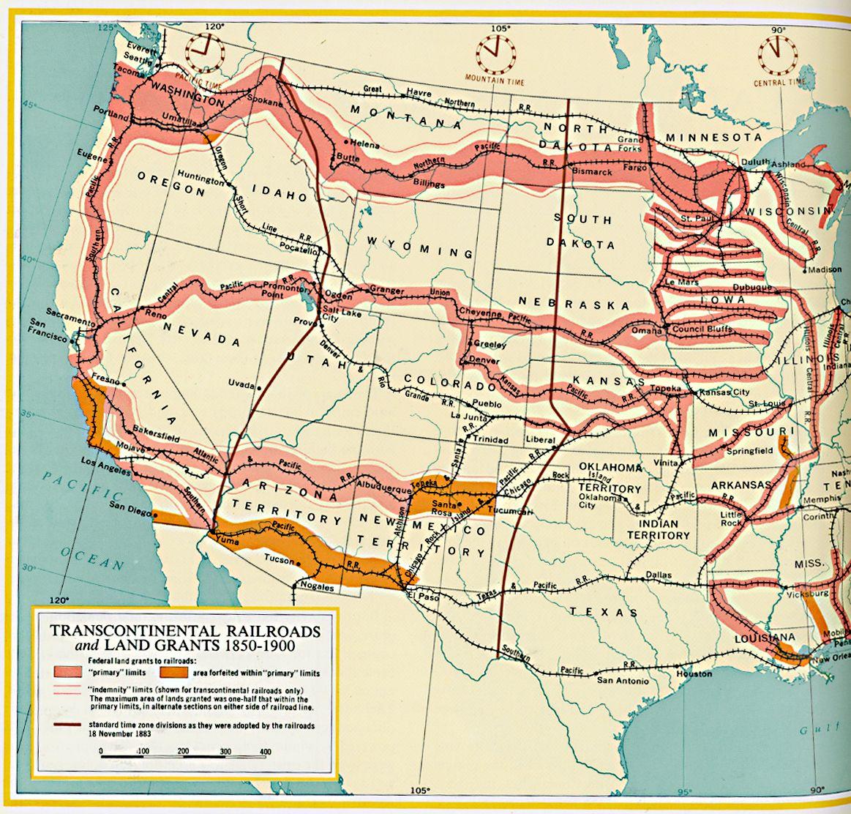 Map Of Arizona Railroads.Transcontinental Railroads And Land Grants Circa 1850 1900 Ad