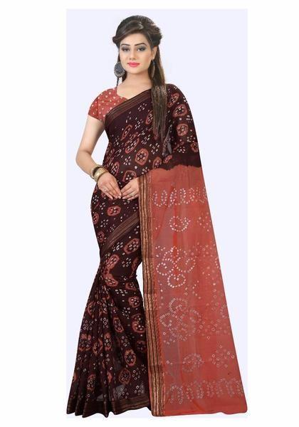 feaf9c5e65 Daily Wear Chunri Print Lace Border Bandhani Cotton Sarees For Women ...